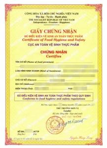 giấy phép an toàn vệ sinh thực phẩm