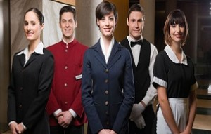 Hotel staff standing together and smiling