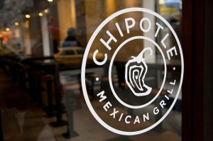 The Chipotle Logo is seen at one of their restaurants in New York