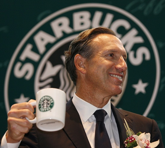 Starbucks Chief Executive Howard Schultz attends a ceremony marking the 10th anniversary of the opening of the first Hong Kong Starbucks in Hong Kong