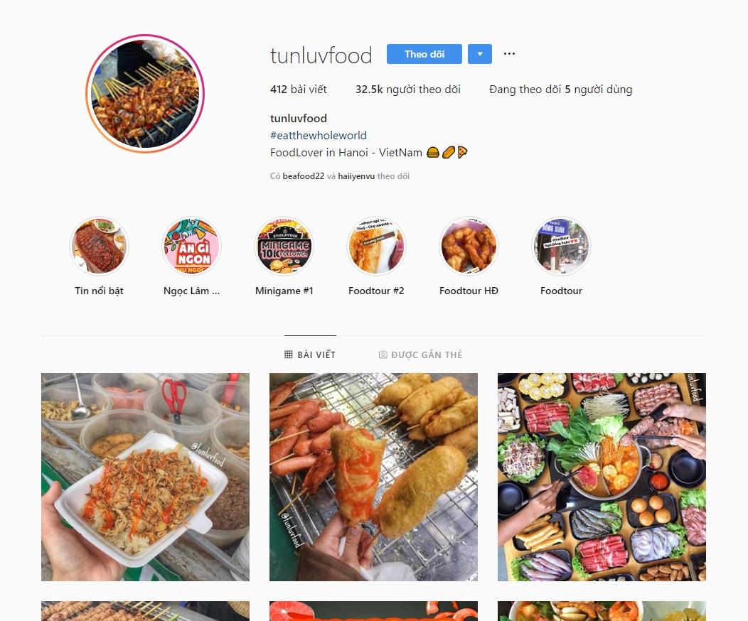 Tài khoản insta @tunluvfood là 1 food review rất được giới trẻ yêu thích