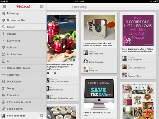 2012.08.21 - Pinterest for iPad - Following